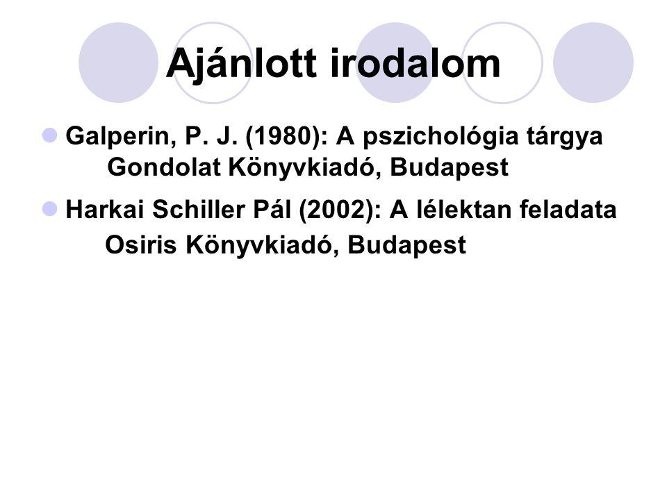Ajánlott irodalom Galperin, P. J. (1980): A pszichológia tárgya