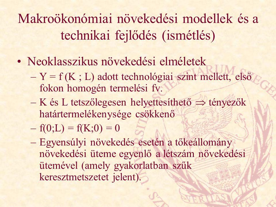Makroökonómiai növekedési modellek és a technikai fejlődés (ismétlés)