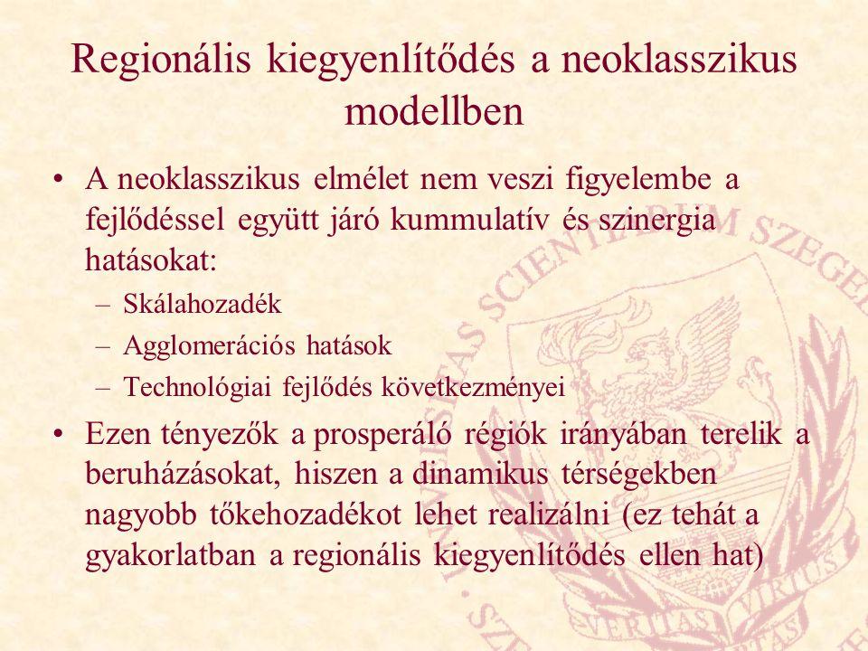 Regionális kiegyenlítődés a neoklasszikus modellben