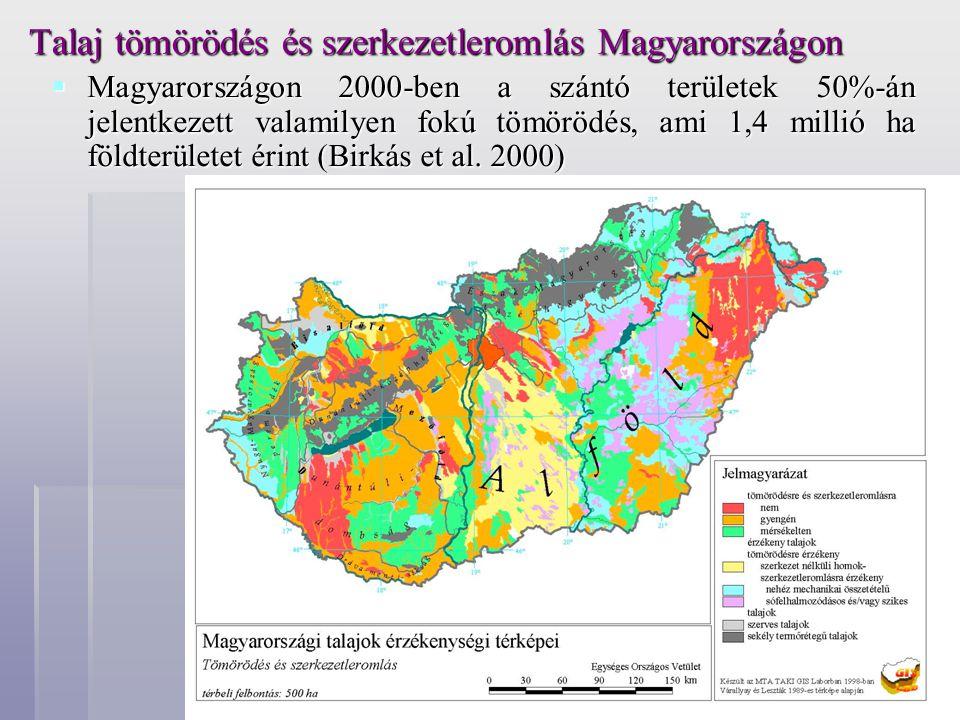 Talaj tömörödés és szerkezetleromlás Magyarországon