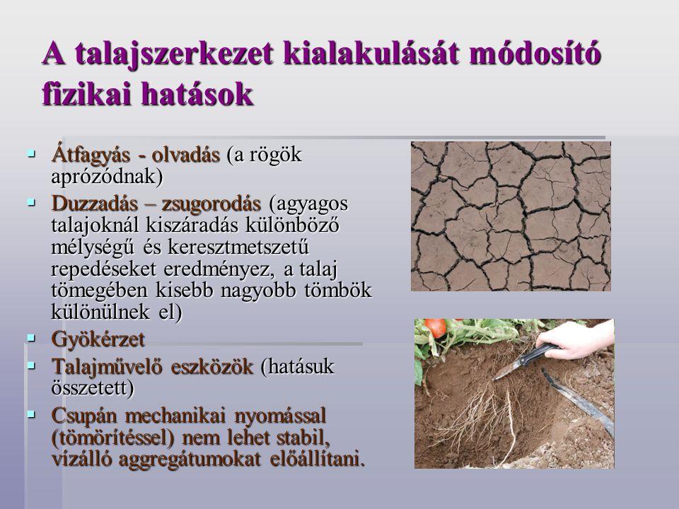 A talajszerkezet kialakulását módosító fizikai hatások