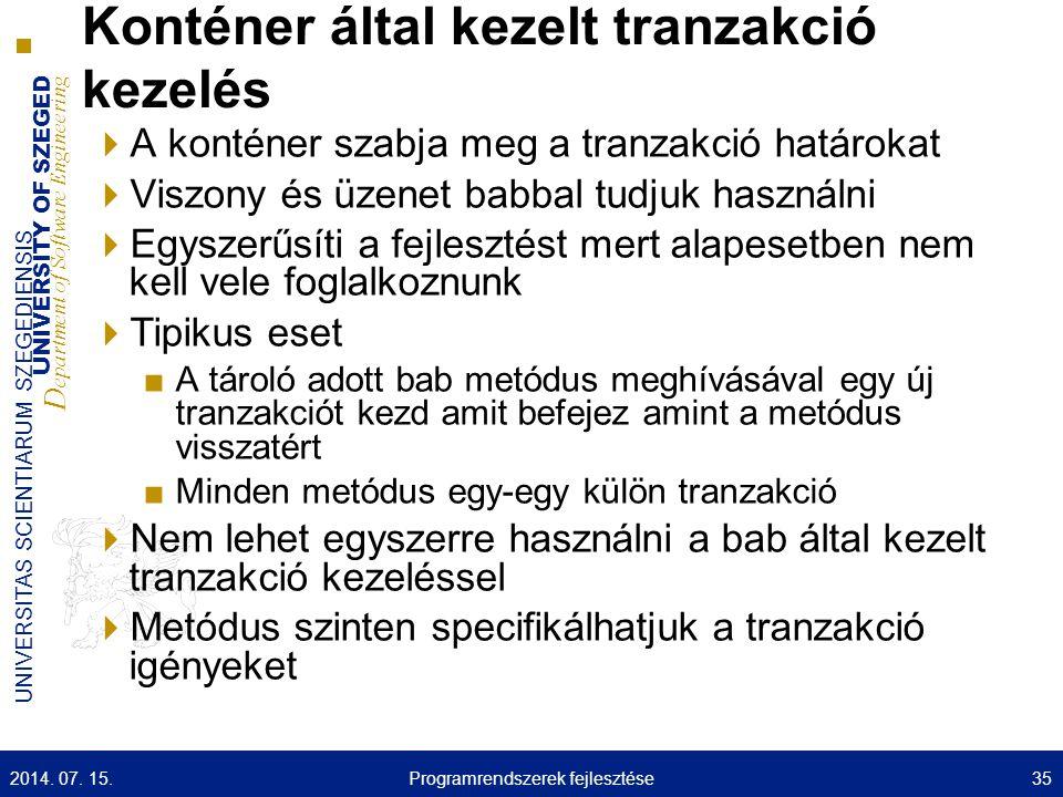 Konténer által kezelt tranzakció kezelés
