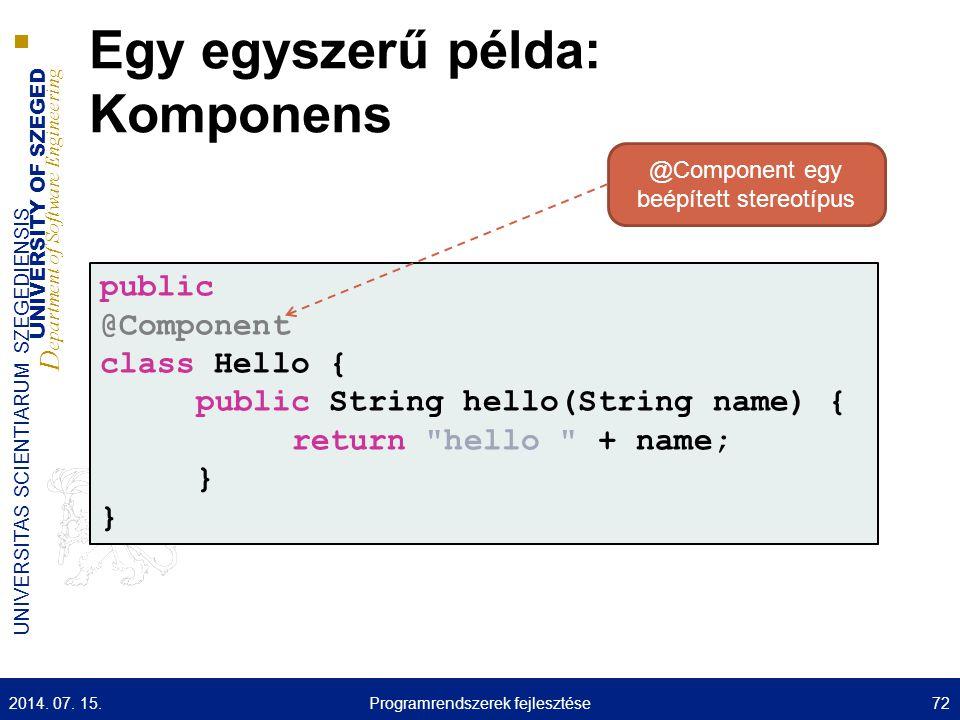 Egy egyszerű példa: Komponens