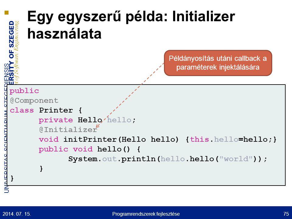Egy egyszerű példa: Initializer használata