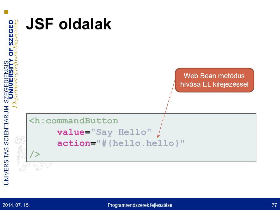 JSF oldalak <h:commandButton