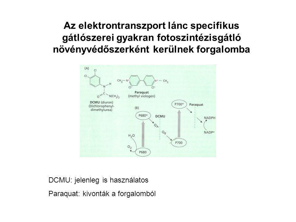 Az elektrontranszport lánc specifikus gátlószerei gyakran fotoszintézisgátló növényvédőszerként kerülnek forgalomba