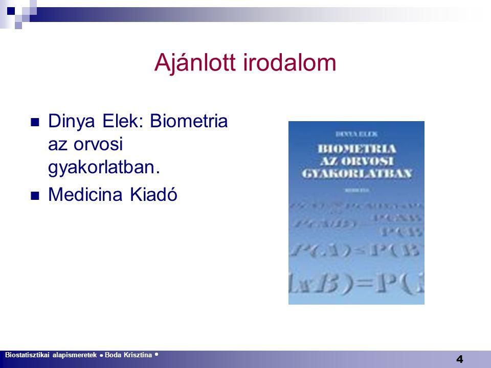 Ajánlott irodalom Dinya Elek: Biometria az orvosi gyakorlatban.