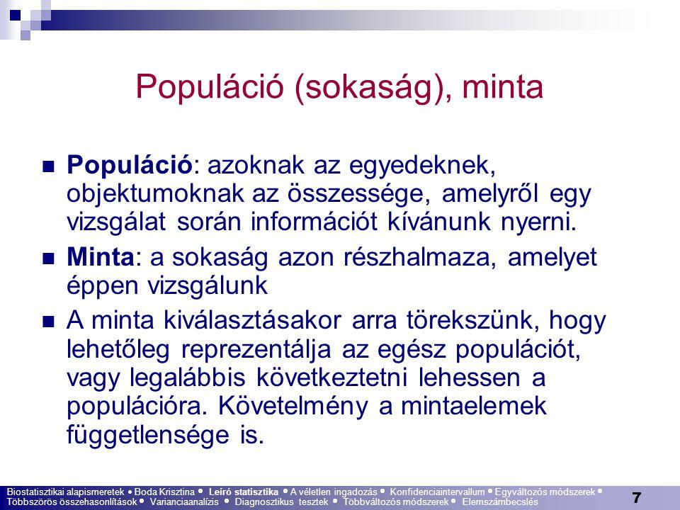 Populáció (sokaság), minta