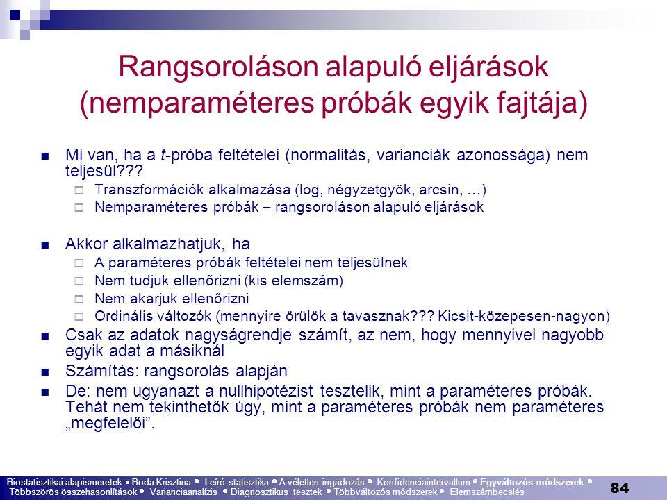Rangsoroláson alapuló eljárások (nemparaméteres próbák egyik fajtája)