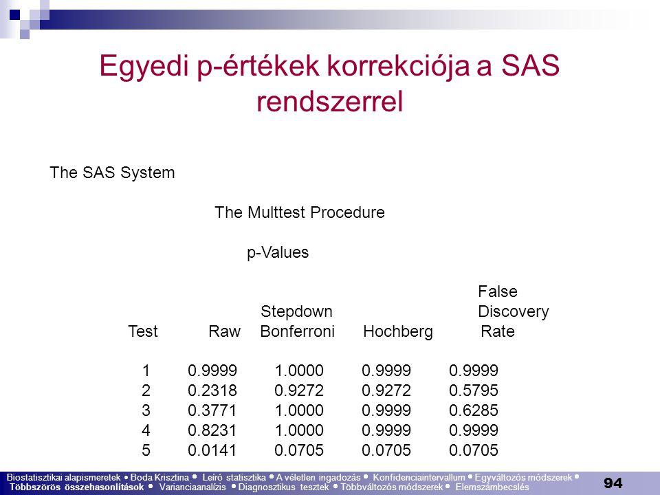 Egyedi p-értékek korrekciója a SAS rendszerrel