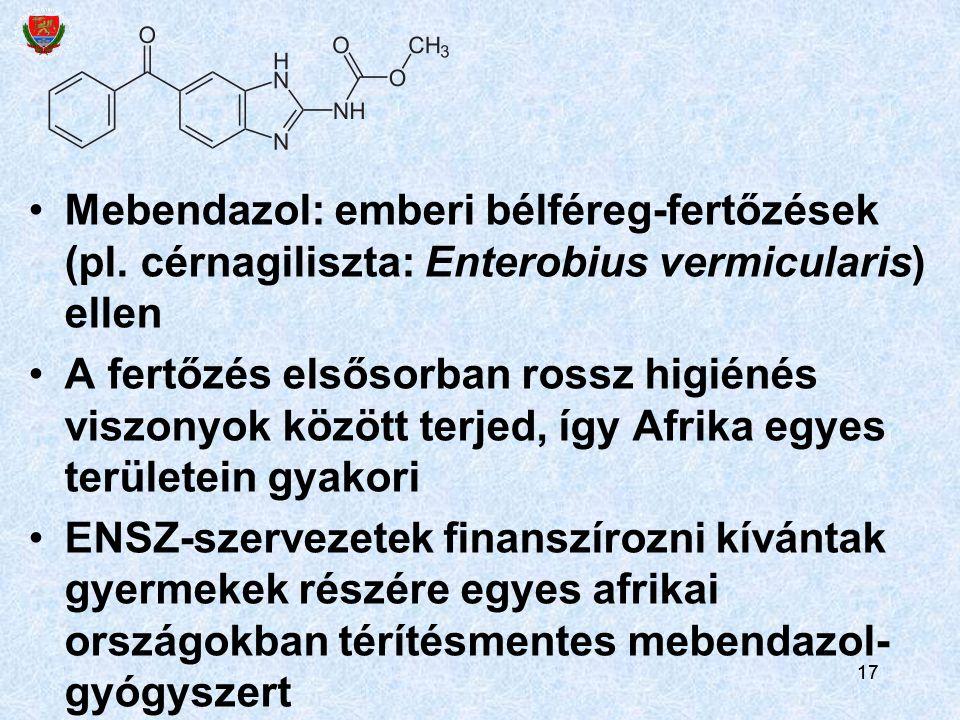 Mebendazol: emberi bélféreg-fertőzések (pl