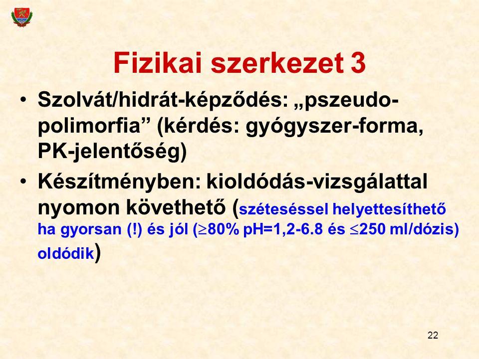"""Fizikai szerkezet 3 Szolvát/hidrát-képződés: """"pszeudo-polimorfia (kérdés: gyógyszer-forma, PK-jelentőség)"""