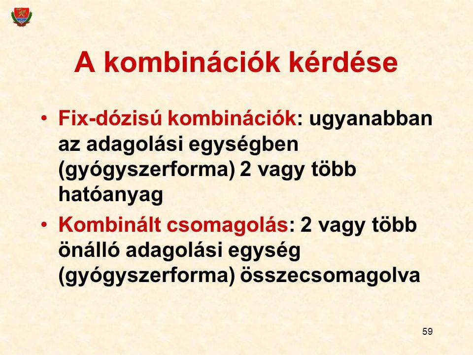 A kombinációk kérdése Fix-dózisú kombinációk: ugyanabban az adagolási egységben (gyógyszerforma) 2 vagy több hatóanyag.