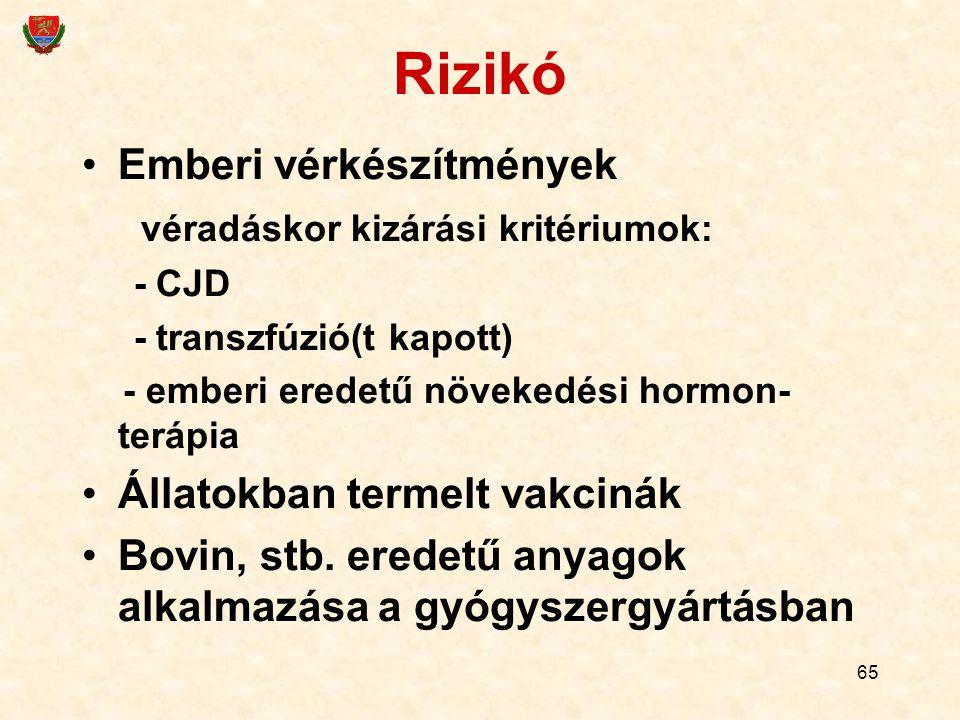 Rizikó Emberi vérkészítmények véradáskor kizárási kritériumok: