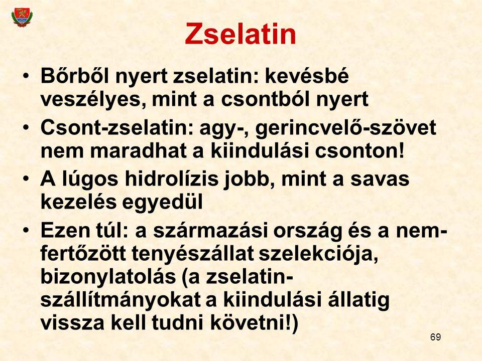 Zselatin Bőrből nyert zselatin: kevésbé veszélyes, mint a csontból nyert. Csont-zselatin: agy-, gerincvelő-szövet nem maradhat a kiindulási csonton!