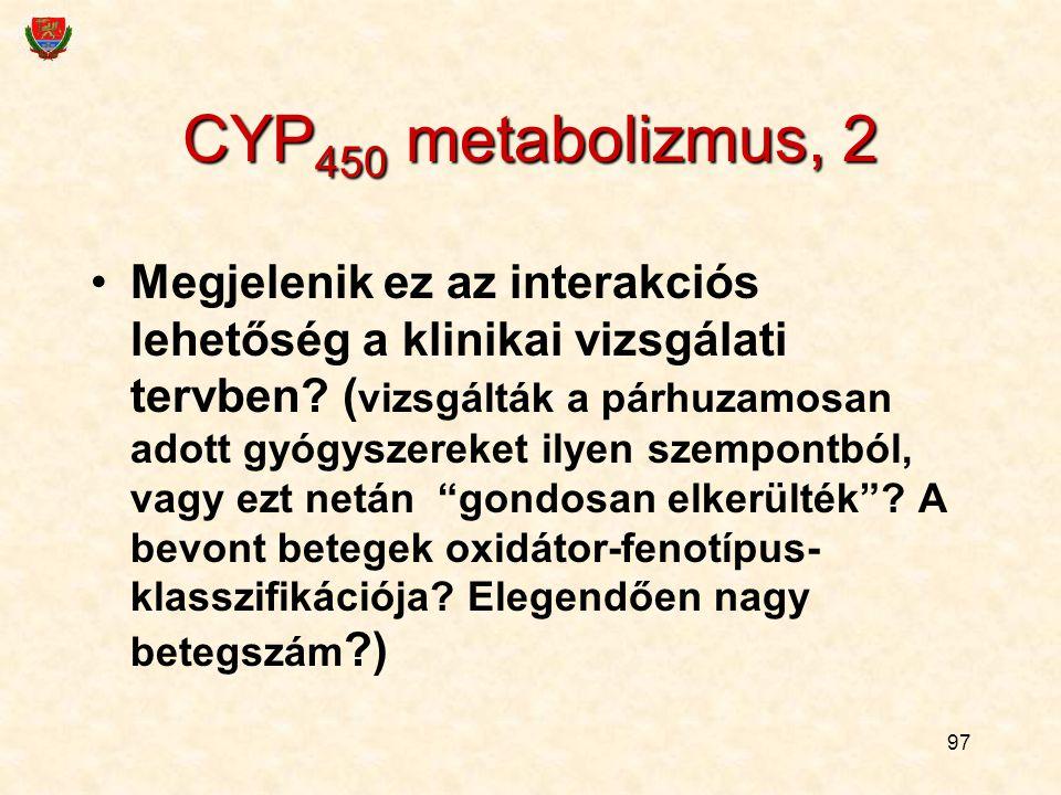 CYP450 metabolizmus, 2