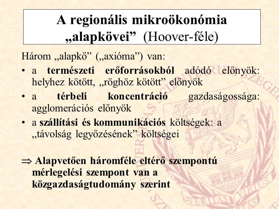 """A regionális mikroökonómia """"alapkövei (Hoover-féle)"""