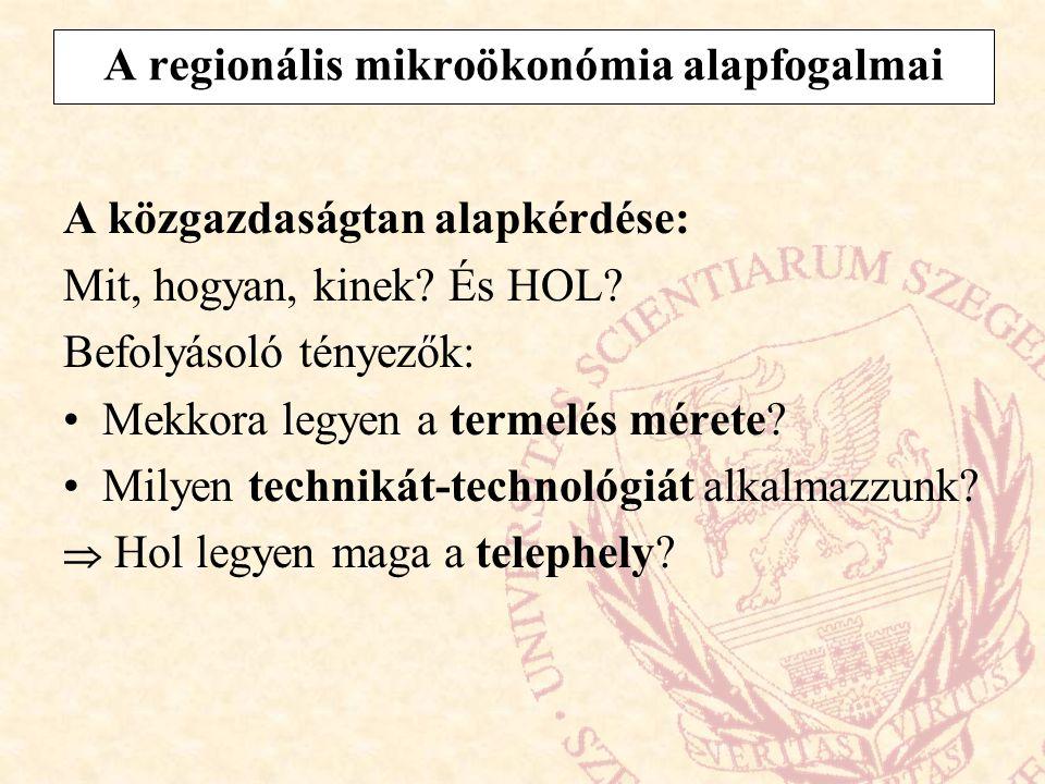 A regionális mikroökonómia alapfogalmai