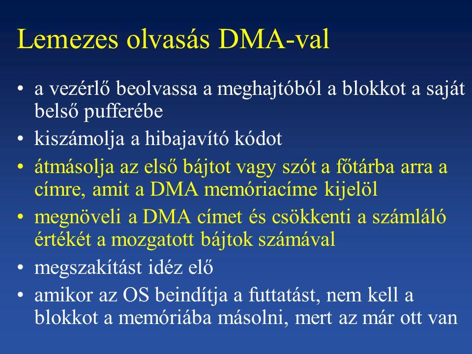 Lemezes olvasás DMA-val
