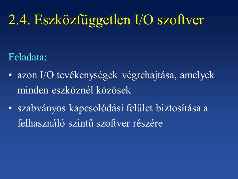 2.4. Eszközfüggetlen I/O szoftver