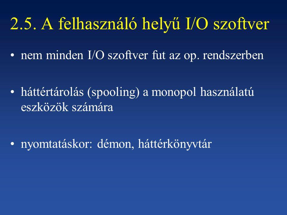 2.5. A felhasználó helyű I/O szoftver