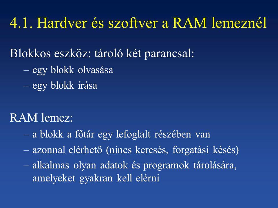 4.1. Hardver és szoftver a RAM lemeznél