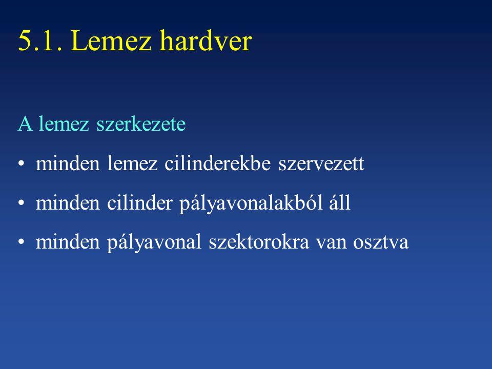 5.1. Lemez hardver A lemez szerkezete