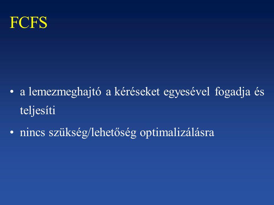 FCFS a lemezmeghajtó a kéréseket egyesével fogadja és teljesíti