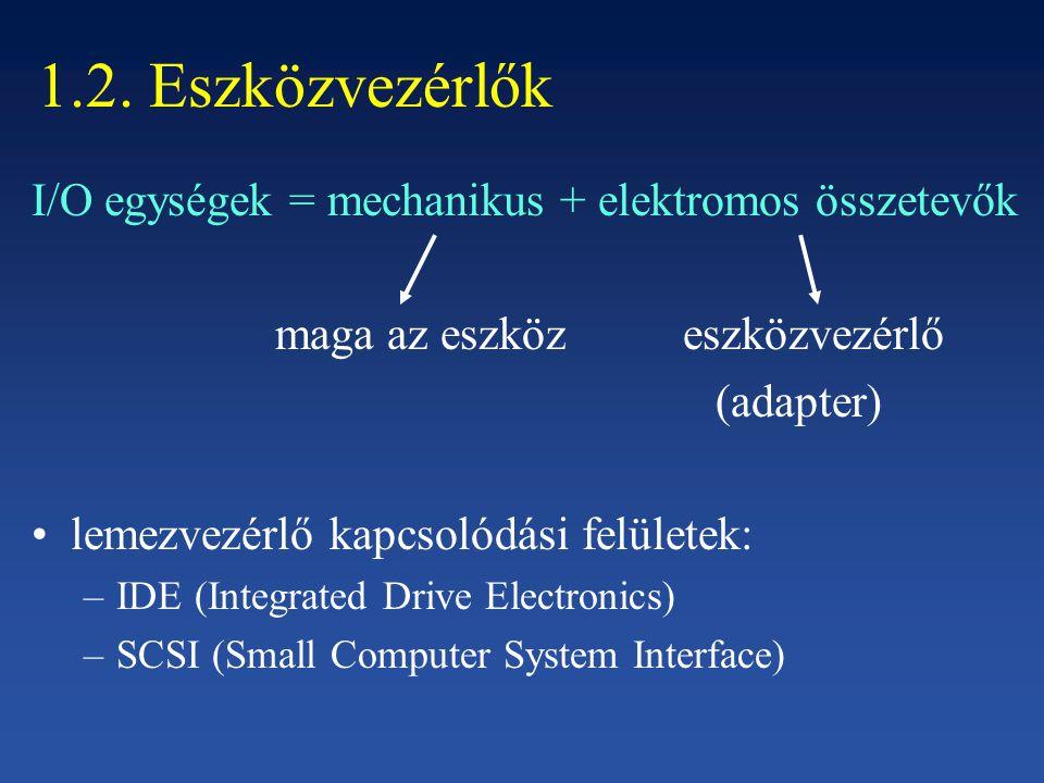 1.2. Eszközvezérlők I/O egységek = mechanikus + elektromos összetevők