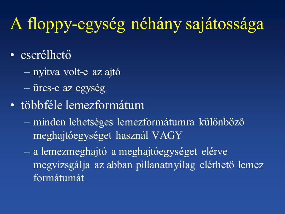 A floppy-egység néhány sajátossága