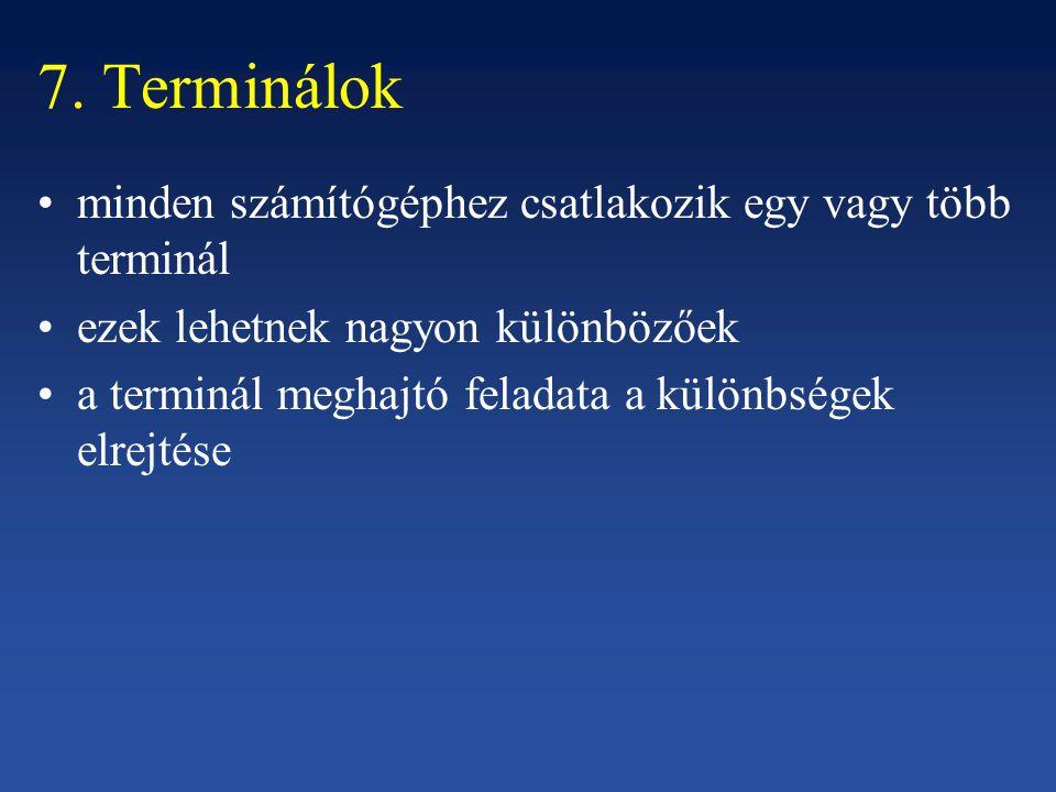 7. Terminálok minden számítógéphez csatlakozik egy vagy több terminál