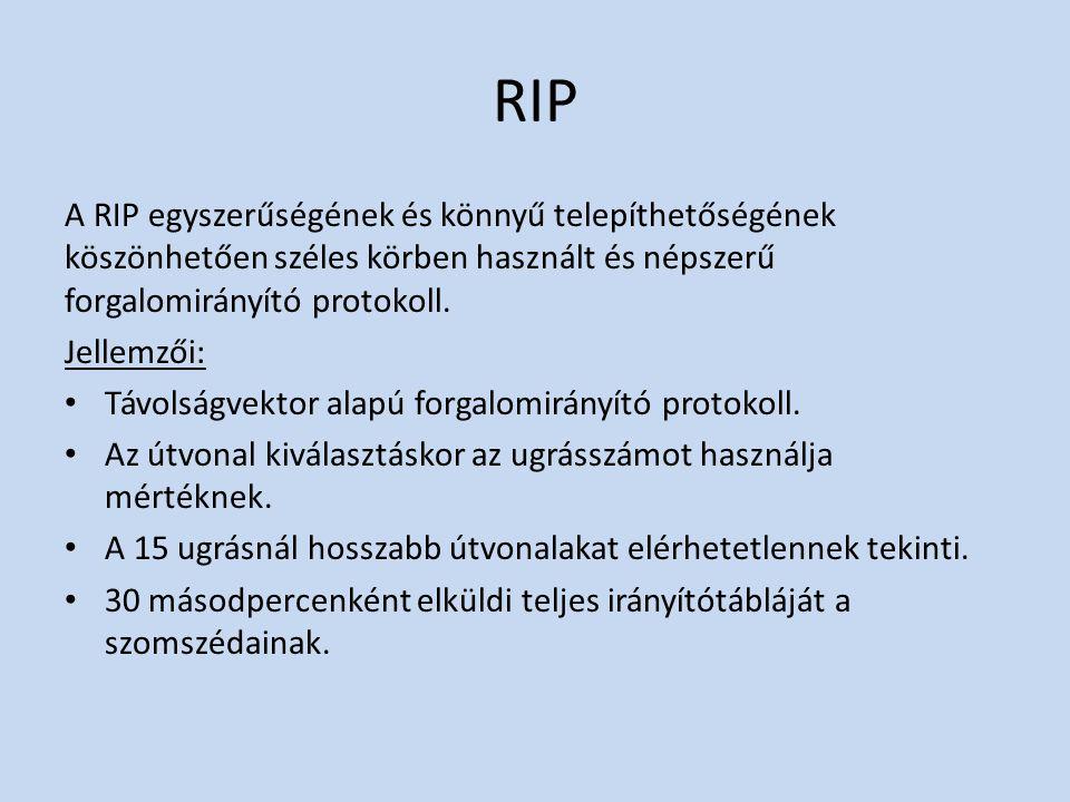 RIP A RIP egyszerűségének és könnyű telepíthetőségének köszönhetően széles körben használt és népszerű forgalomirányító protokoll.
