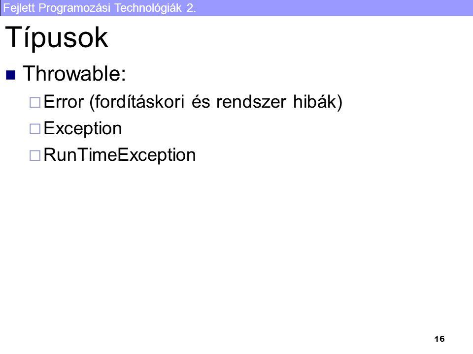 Típusok Throwable: Error (fordításkori és rendszer hibák) Exception