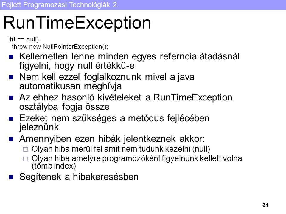 RunTimeException if(t == null) throw new NullPointerException(); Kellemetlen lenne minden egyes referncia átadásnál figyelni, hogy null értékkű-e.