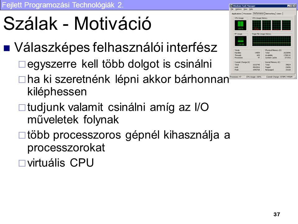 Szálak - Motiváció Válaszképes felhasználói interfész