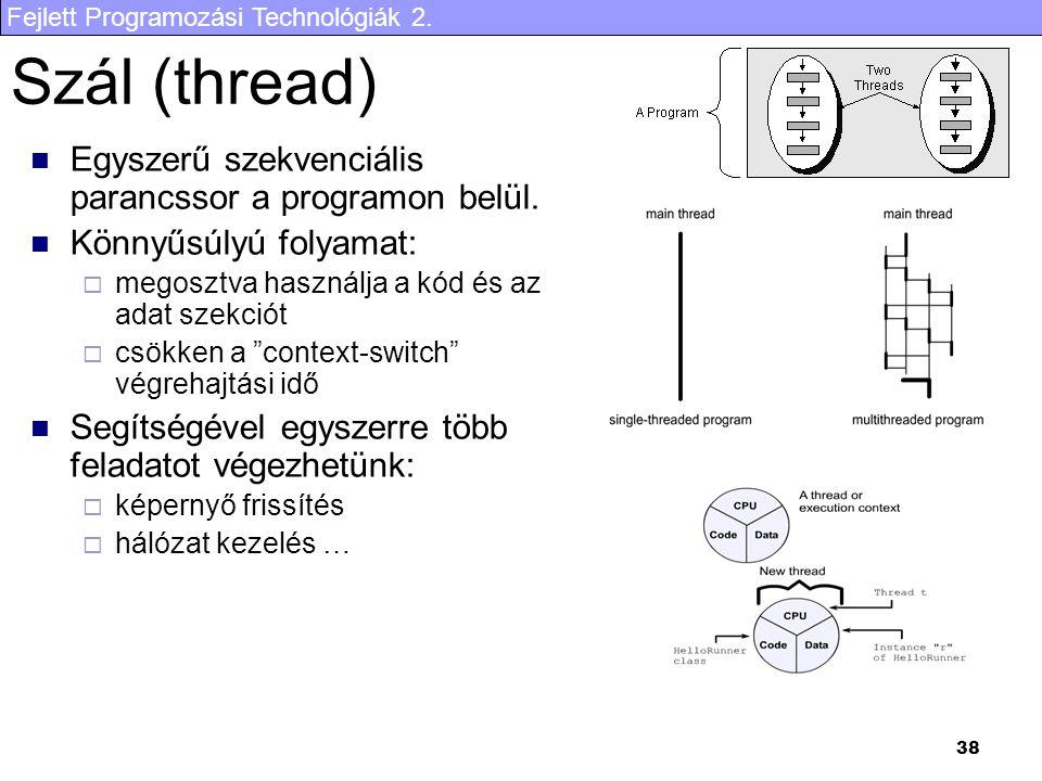 Szál (thread) Egyszerű szekvenciális parancssor a programon belül.