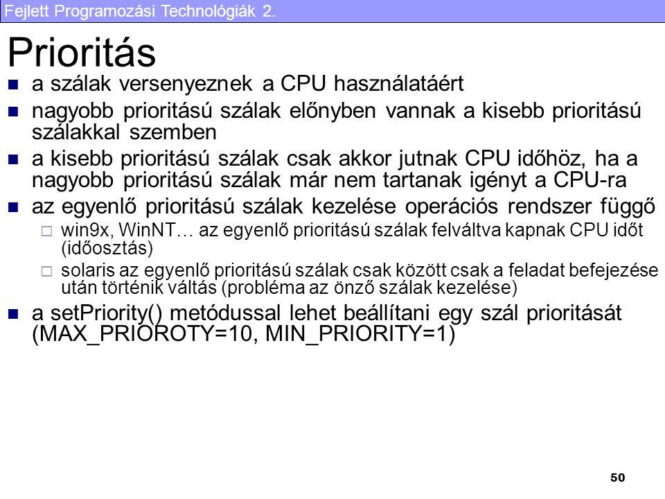 Prioritás a szálak versenyeznek a CPU használatáért