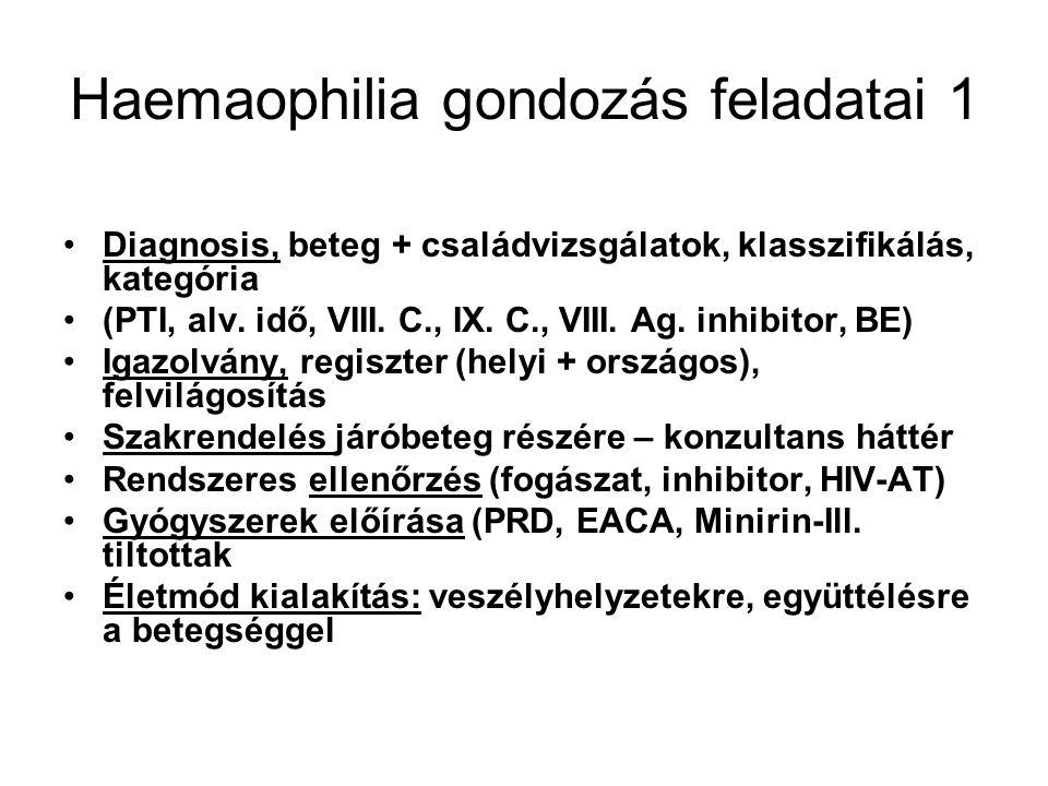 Haemaophilia gondozás feladatai 1