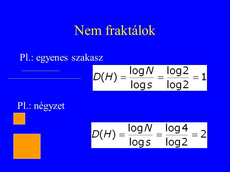 Nem fraktálok Pl.: egyenes szakasz Pl.: négyzet