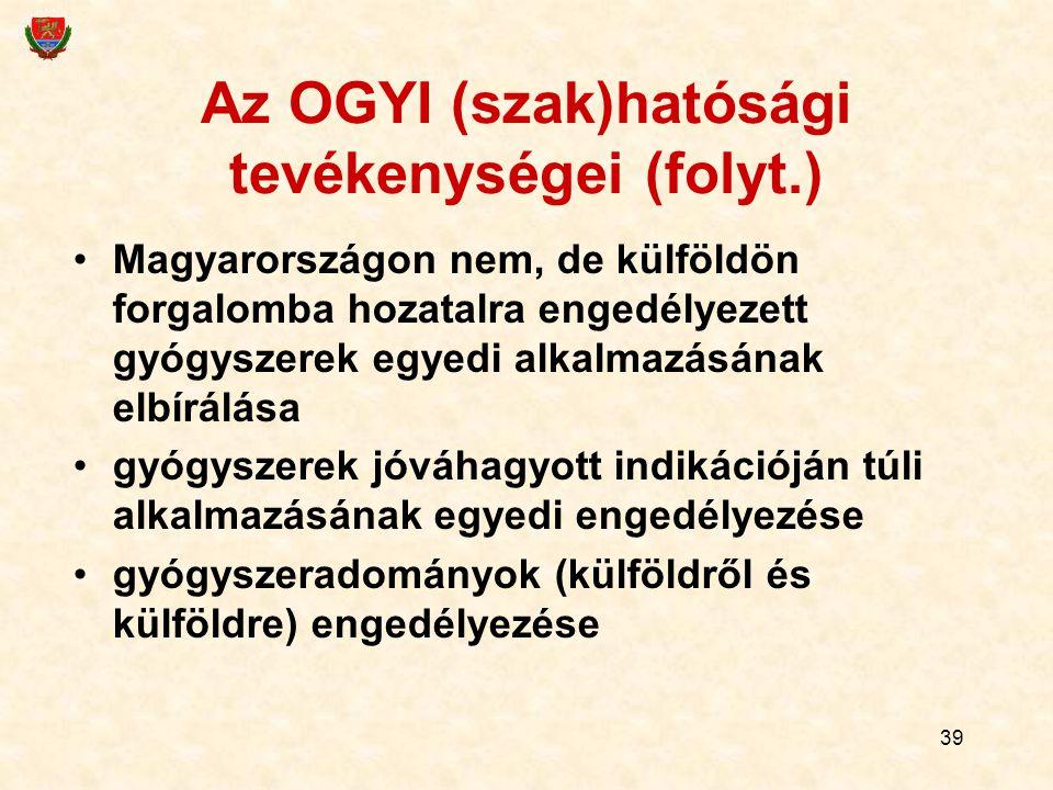 Az OGYI (szak)hatósági tevékenységei (folyt.)