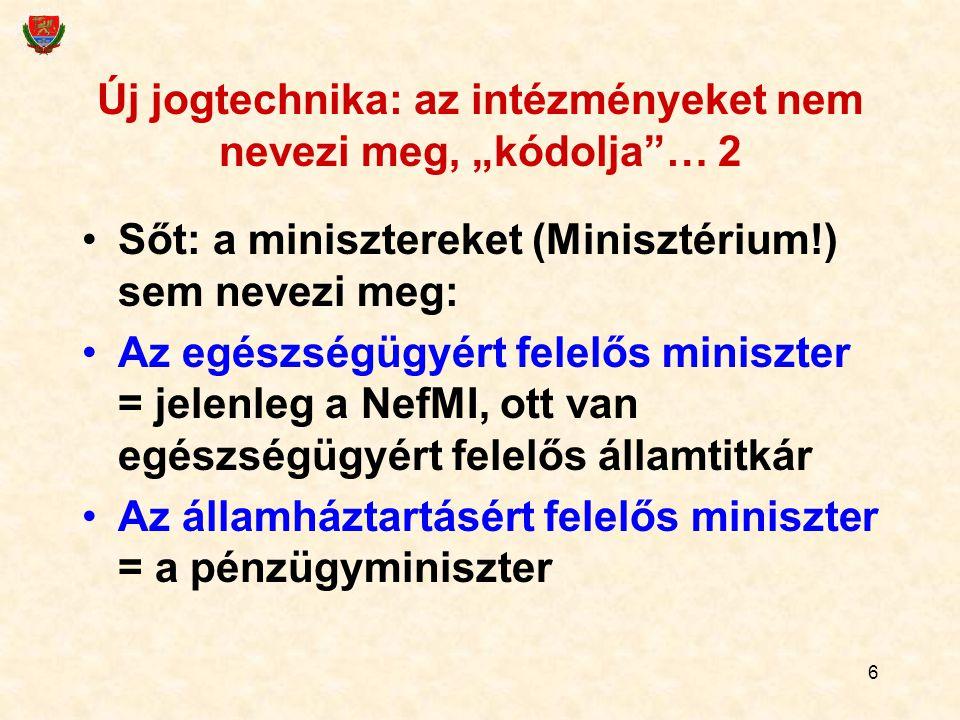 """Új jogtechnika: az intézményeket nem nevezi meg, """"kódolja … 2"""