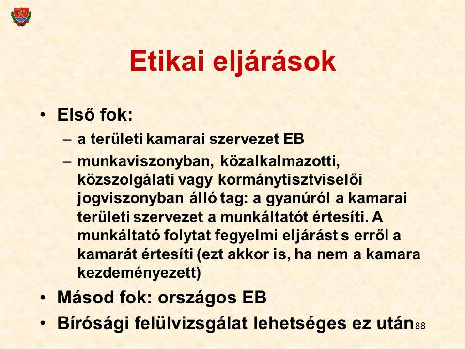 Etikai eljárások Első fok: Másod fok: országos EB