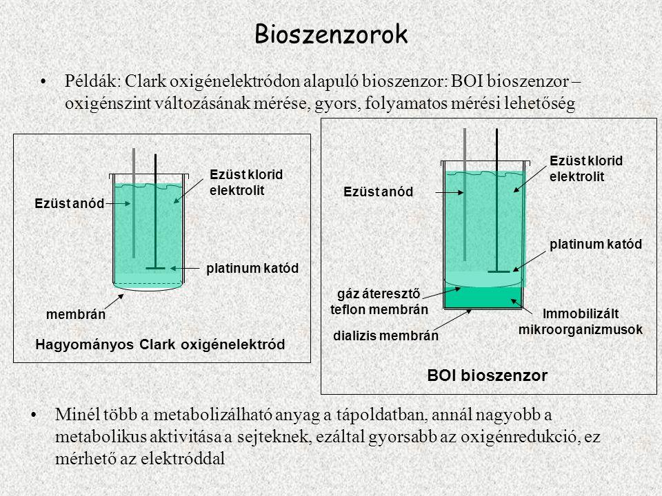 Immobilizált mikroorganizmusok Hagyományos Clark oxigénelektród