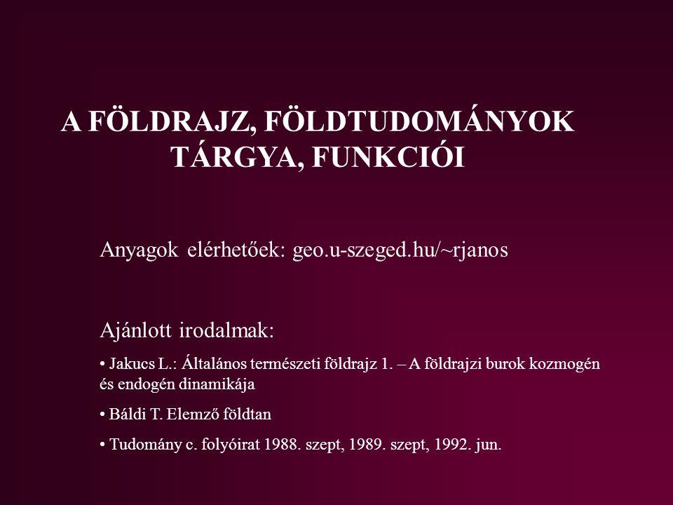 A FÖLDRAJZ, FÖLDTUDOMÁNYOK TÁRGYA, FUNKCIÓI