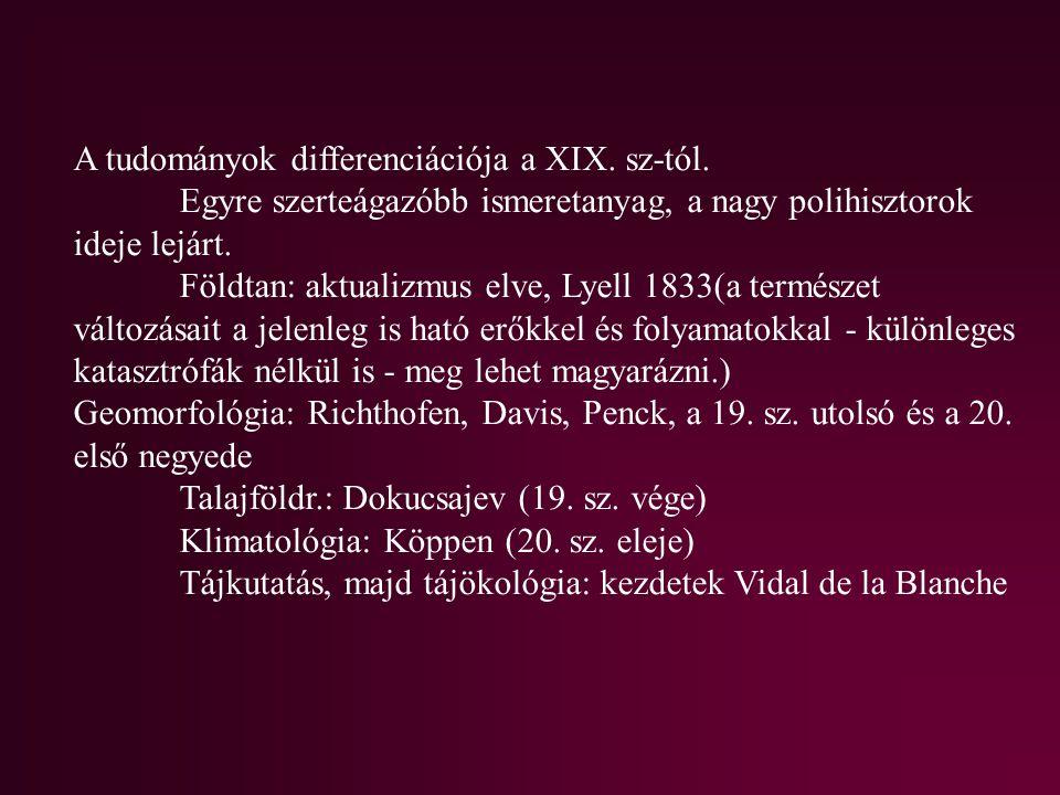 A tudományok differenciációja a XIX. sz-tól.