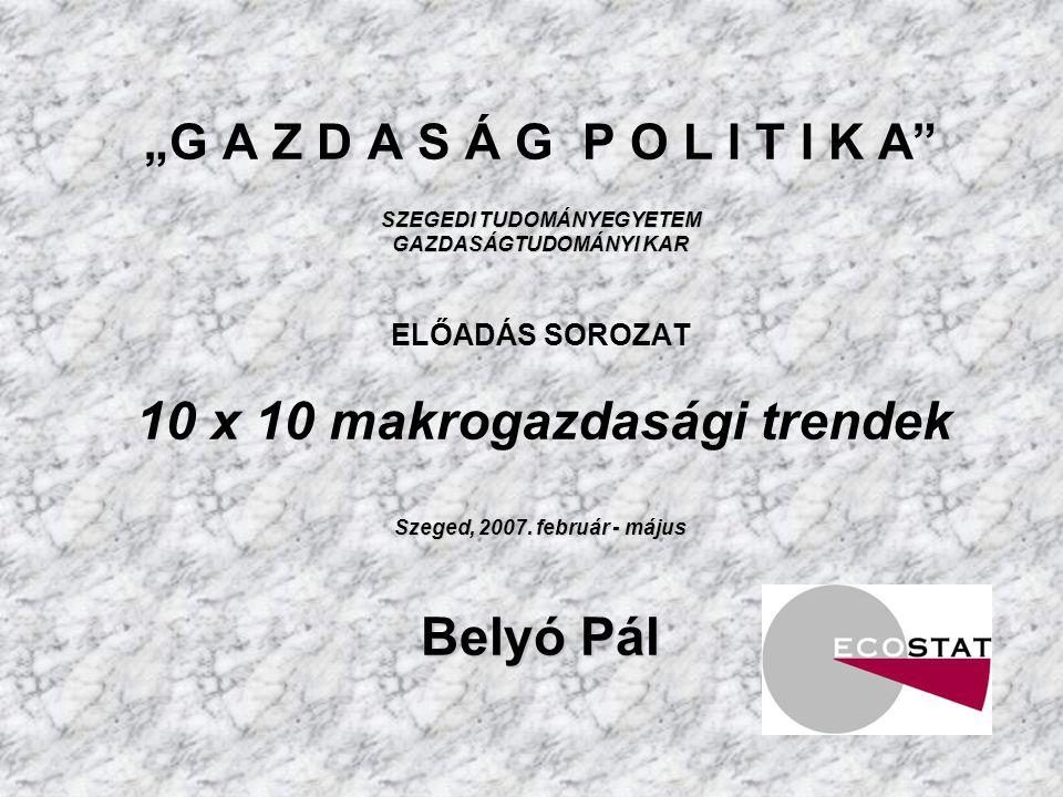 """""""G A Z D A S Á G P O L I T I K A SZEGEDI TUDOMÁNYEGYETEM GAZDASÁGTUDOMÁNYI KAR ELŐADÁS SOROZAT 10 x 10 makrogazdasági trendek Szeged, 2007."""