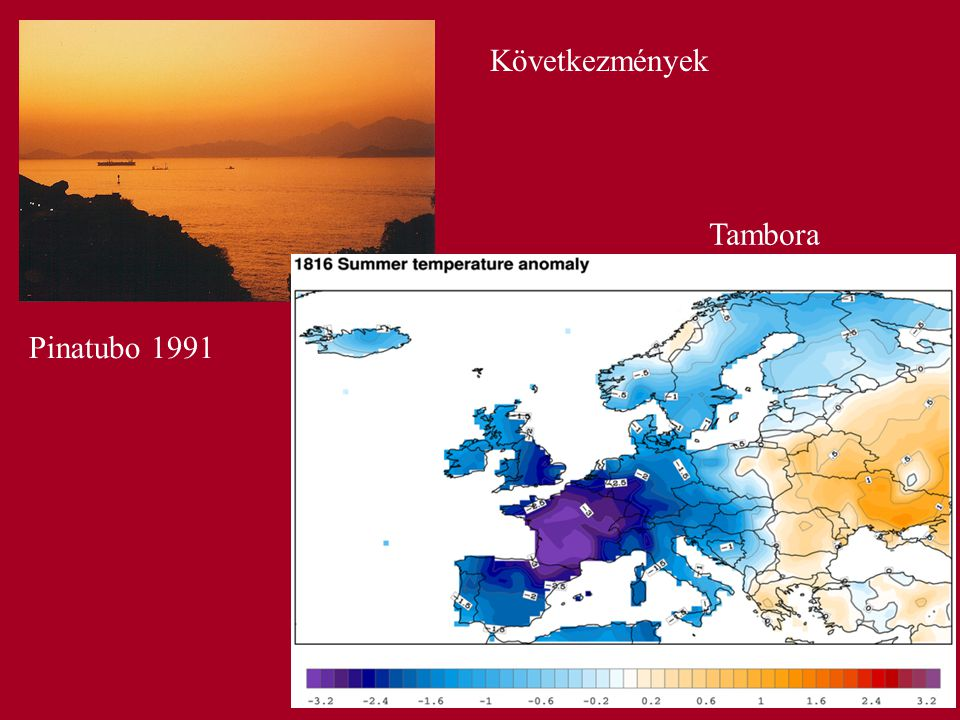 Következmények Tambora Pinatubo 1991
