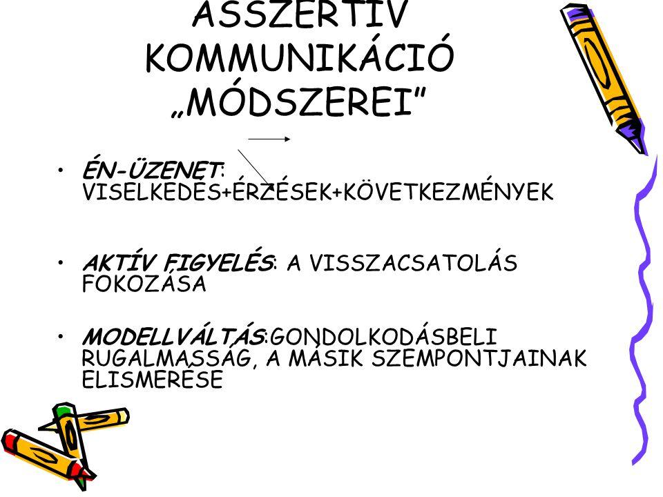 """ASSZERTÍV KOMMUNIKÁCIÓ """"MÓDSZEREI"""