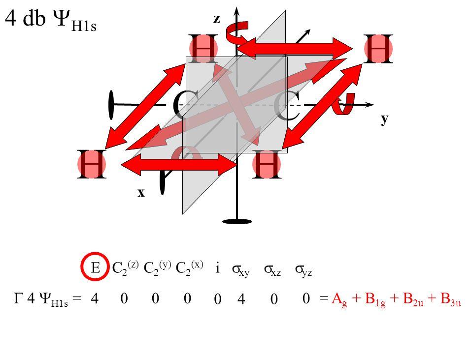 C C H 4 db YH1s z x y E C2(z) C2(y) C2(x) i sxy sxz syz G 4 YH1s = 4 4