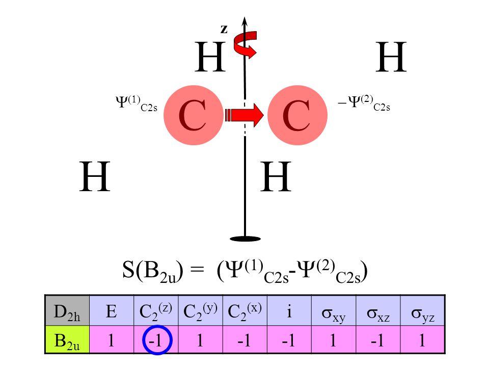 H C C S(B2u) = (Y(1)C2s-Y(2)C2s) D2h E C2(z) C2(y) C2(x) i xy xz yz